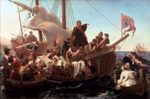 Christopher Columbus on Santa Maria in 1492.