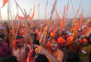 Crowd at Kumbh Mela festival, the world's largest religious gathering, in Allahabad, Uttar Pradesh, India. Photo by Yury Birukov.